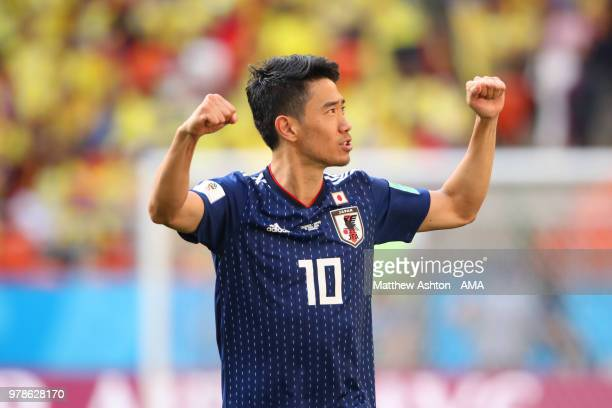 Shinji Kagawa of Japan celebrates at the end of the 2018 FIFA World Cup Russia group H match between Colombia and Japan at Mordovia Arena on June 19...