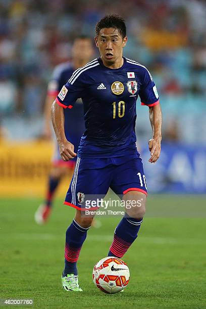 Shinji Kagawa of Japan controls the ball during the 2015 Asian Cup Quarter Final match between Japan and the United Arab Emirates at ANZ Stadium on...