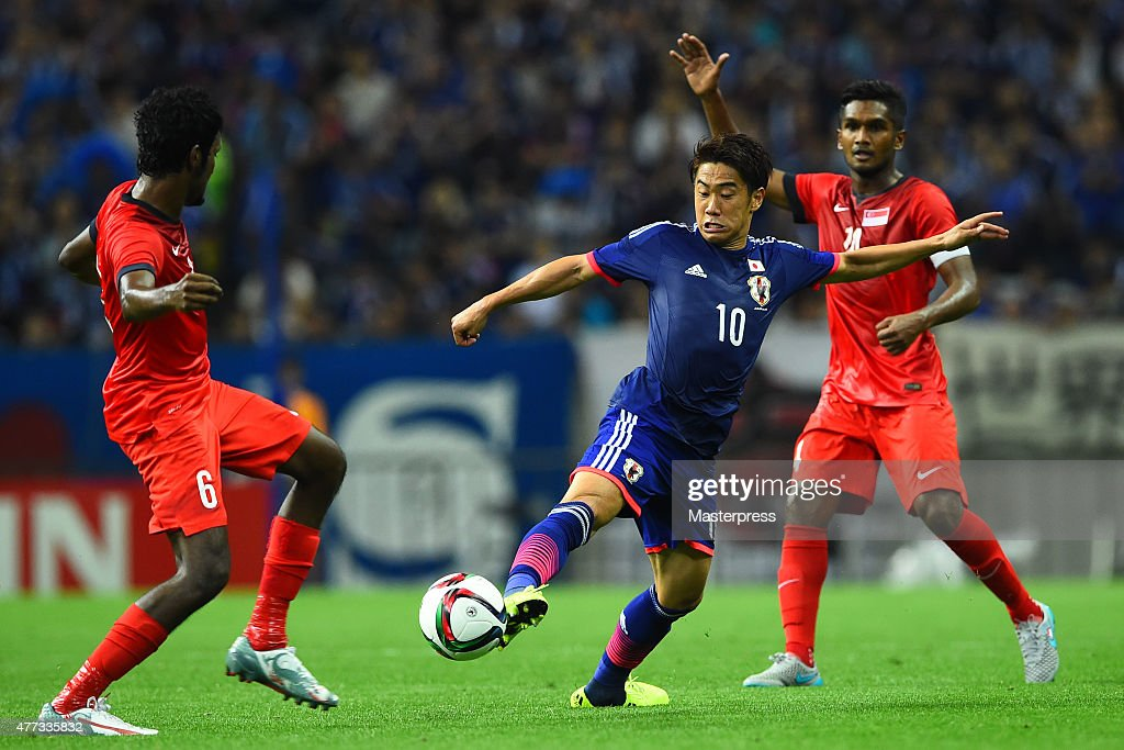 Shinji Kagawa of Japan in action during the 2018 FIFA World Cup Asian Qualifier second round match between Japan and Singapore at Saitama Stadium on June 16, 2015 in Saitama, Japan.