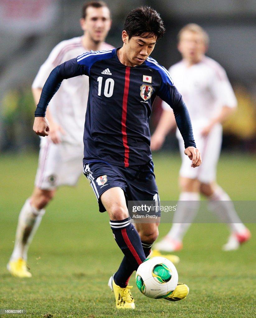 Shinji Kagawa of Japan in action during the international friendly match between Japan and Latvia at Home's Stadium Kobe on February 6, 2013 in Kobe, Japan.