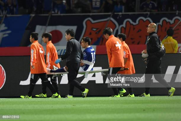 Shinji Kagawa of Japan injured during the international friendly match between Japan and Syria at Tokyo Stadium on June 7 2017 in Chofu Tokyo Japan