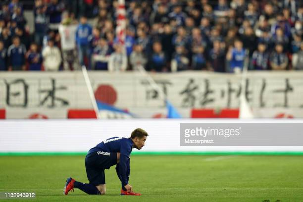 Shinji Kagawa of Japan is seen during the international friendly match between Japan and Bolivia at Noevir Stadium Kobe on March 26 2019 in Kobe...
