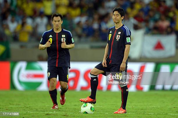 Shinji Kagawa of Japan looks on against Mexico during the FIFA Confederations Cup Brazil 2013 Group A match between Japan and Mexico at Estadio...