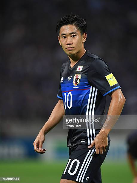 Shinji Kagawa of Japan looks on during the 2018 FIFA World Cup Qualifiers Group B match between Japan and United Arab Emirates at Saitama Stadium on...