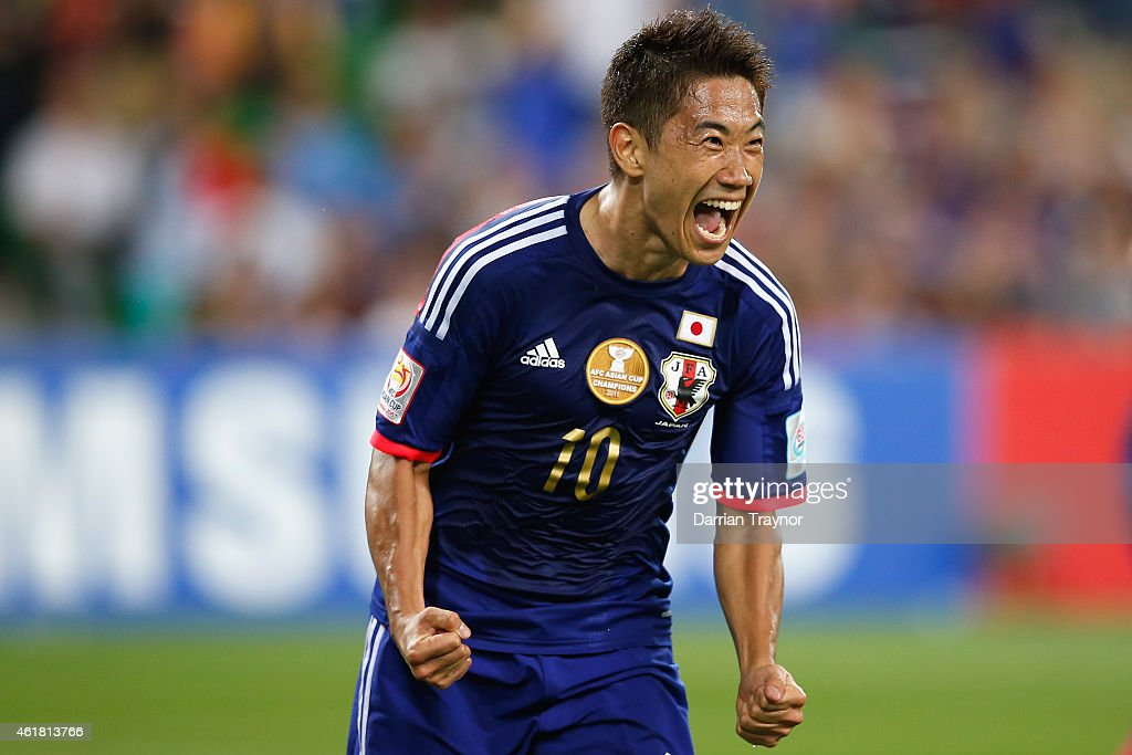 Shinji Kagawa of Japan reacts after scoring a goal during the 2015 Asian Cup match between Japan and Jordan at AAMI Park on January 20, 2015 in Melbourne, Australia.