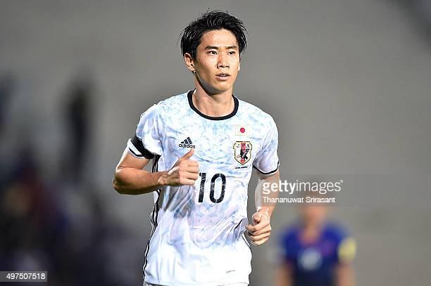Shinji Kagawa of Japan runs during the 2018 FIFA World Cup Qualifier match between Cambodia and Japan on November 17 2015 in Phnom Penh Cambodia
