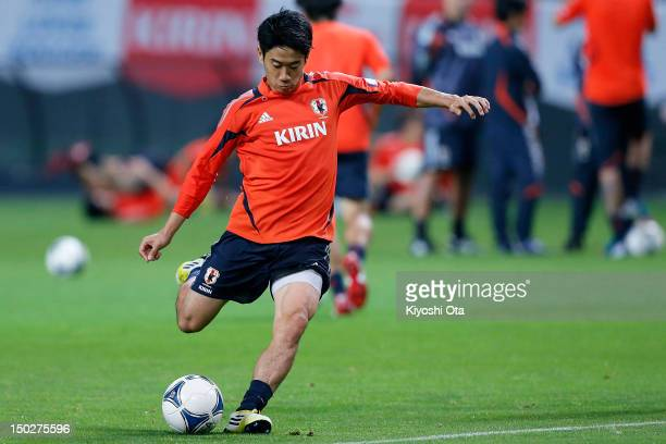 Shinji Kagawa of Japan takes part in a training session ahead of the international friendly match against Venezuela at Sapporo Dome on August 14 2012...