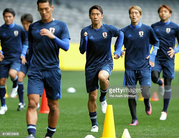 Shinji Kagawa of Japan warms up during a training session at Etihad Stadium on October 10 2016 in Melbourne Australia