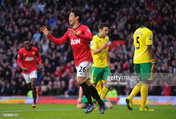 Shinji Kagawa of Manchester United celebrates scoring to make it 20 with during the Barclays Premier League match between Manchester United and...