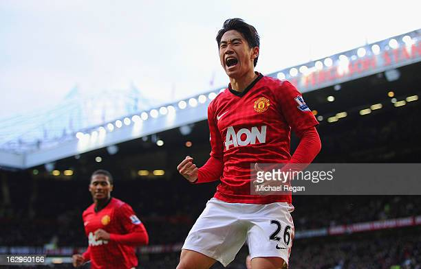 Shinji Kagawa of Manchester United celebrates scoring to make it 30 and claim a hattrick during the Barclays Premier League match between Manchester...