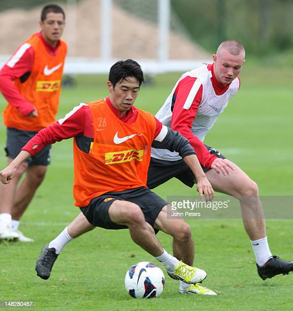Shinji Kagawa of Manchester United in action during first team training session at Carrington Training Ground on July 13, 2012 in Manchester, England.