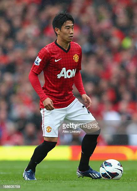 Shinji Kagawa of Manchester United in action during the Barclays Premier League match between Manchester United and Swansea City at Old Trafford on...