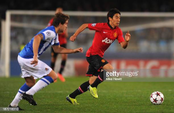Shinji Kagawa of Manchester United makes a break during the UEFA Champions League Group A match between Real Sociedad and Manchester United at...