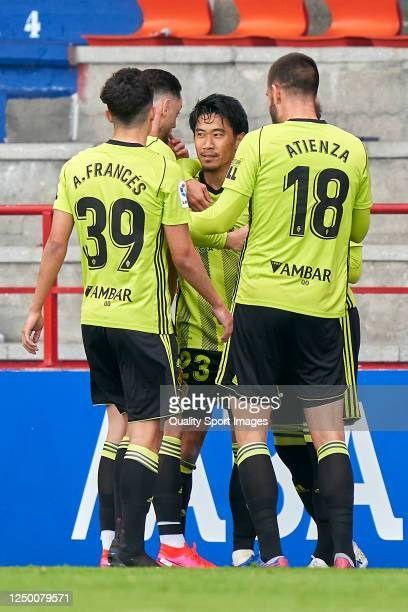 Shinji Kagawa of Real Zaragoza celebrates with his team mates after scoring his team's first goal during the La Liga Smartbank match between CD Lugo...