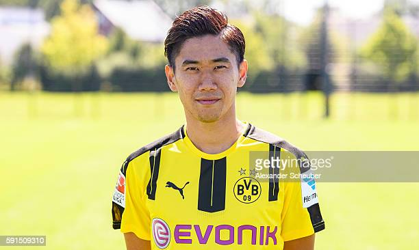 Shinji Kagawa poses during the team presentation of Borussia Dortmund on August 17 2016 in Dortmund Germany