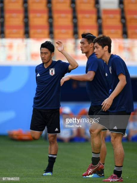 Shinji Kagawa warms up during training session ahead of the FIFA World Cup Group H match between Colombia and Japan at Mordovia Arena on June 18 2018...