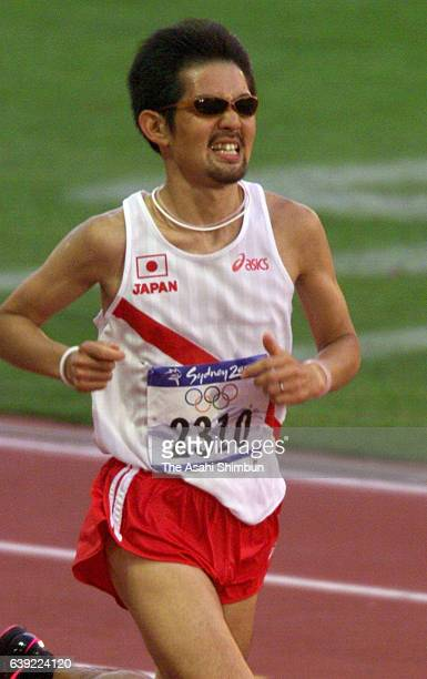 Shinji Kawashima of Japan competes in the Men's Marathon during the Sydney Olympics at Stadium Australia on October 1 2000 in Sydney Australia
