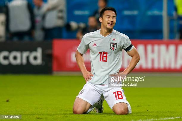 Shinji Okasaki of Japan reacts during the Copa America Brazil 2019 group C match between Uruguay and Japan at Arena do Gremio on June 20 2019 in...