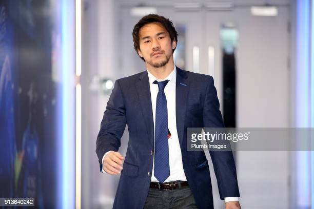 Shinji Okazaki ahead of the Premier League match between Leicester City and Swansea City at King Power Stadium on February 03rd 2018 in Leicester...
