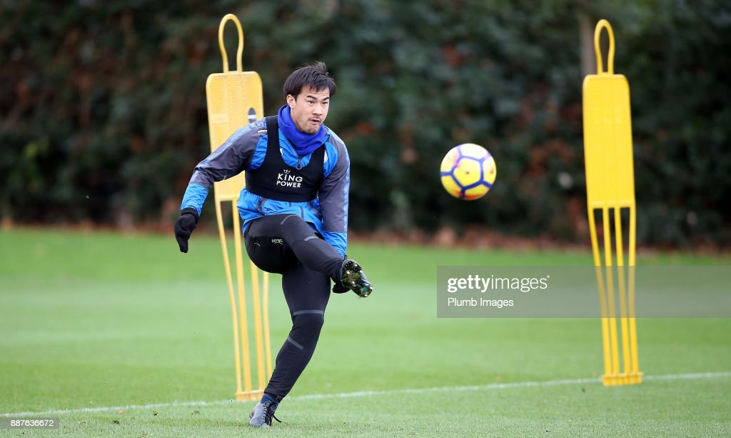 Shinji Okazaki during a Leicester City training session at Belvoir Drive Training Complex on December 7, 2017 in Leicester, United Kingdom.