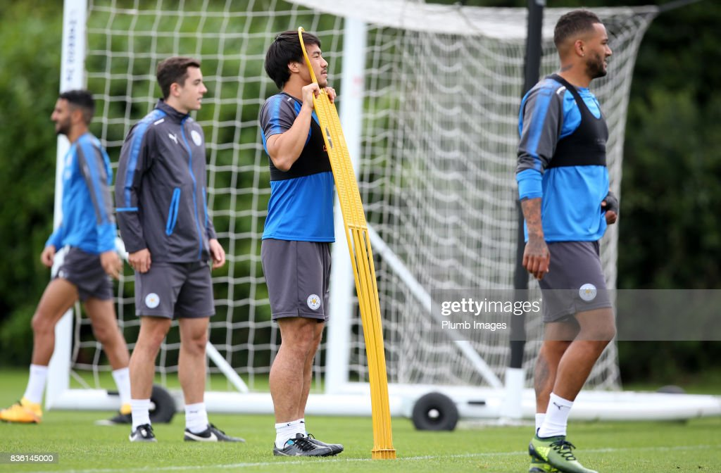 Shinji Okazaki during the Leicester City training session at Belvoir Drive Training Complex on August 21 , 2017 in Leicester, United Kingdom.