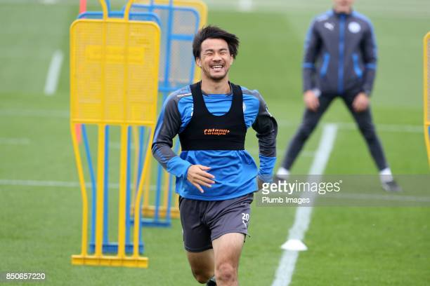Shinji Okazaki during the Leicester City training session at Belvoir Drive Training Complex on September 21 2017 in Leicester United Kingdom