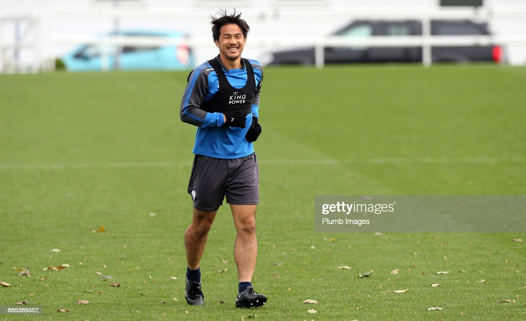 Shinji Okazaki during the Leicester City training session at Belvoir Drive Training Complex on October 23 , 2017 in Leicester, United Kingdom.