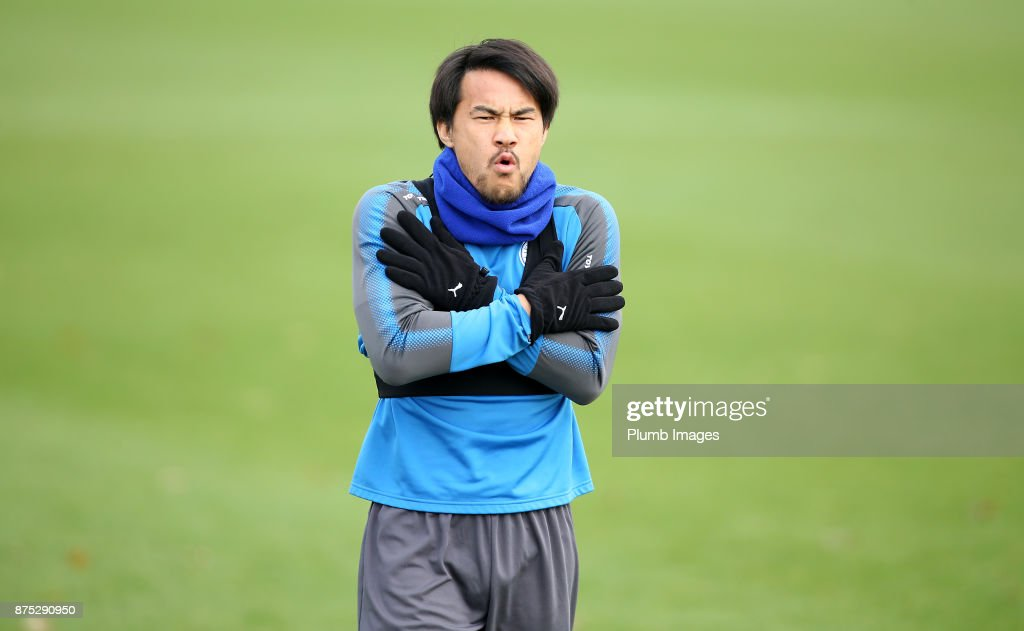 Shinji Okazaki during the Leicester City training session at Belvoir Drive Training Complex on November 17 , 2017 in Leicester, United Kingdom.
