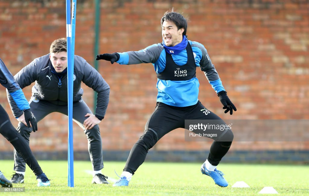 Shinji Okazaki during the Leicester City training session at Belvoir Drive Training Complex on January 04 , 2018 in Leicester, United Kingdom.