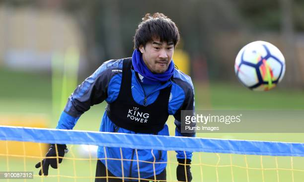 Shinji Okazaki during the Leicester City training session at Belvoir Drive Training Complex on January 25 2018 in Leicester United Kingdom