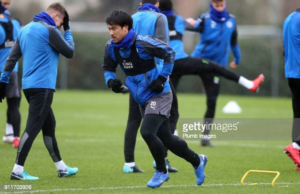 Shinji Okazaki during the Leicester City training session at Belvoir Drive Training Complex on January 29th 2018 in Leicester United Kingdom