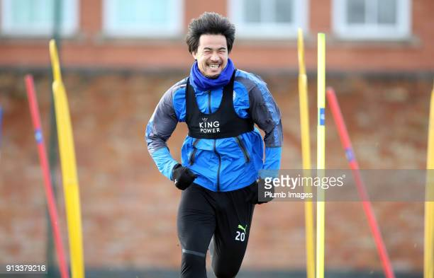Shinji Okazaki during the Leicester City training session at Belvoir Drive Training Complex on February 02 2018 in Leicester United Kingdom