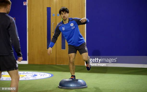Shinji Okazaki during the Leicester City training session at Belvoir Drive Training Complex on February 14 2018 in Leicester United Kingdom