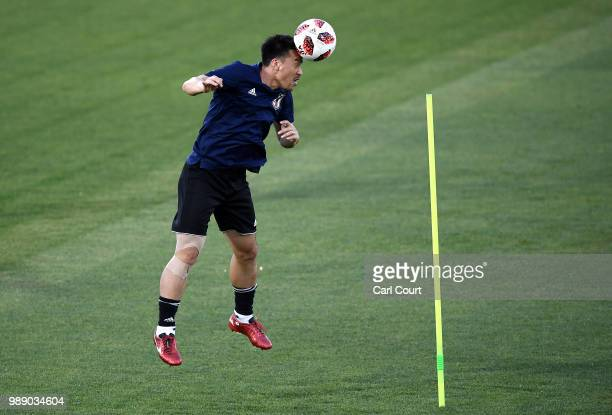 Shinji Okazaki in action during the Japan training ahead of the 2018 FIFA World Cup Round of 16 match against Belgium at Rostov Arena on July 1 2018...