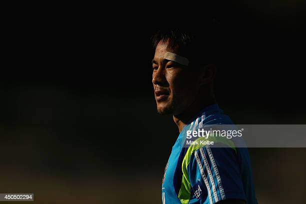 Shinji Okazaki looks on during a Japan training session at the Japan national team base camp at the Spa Sport Resort on June 12 2014 in Itu Sao Paulo