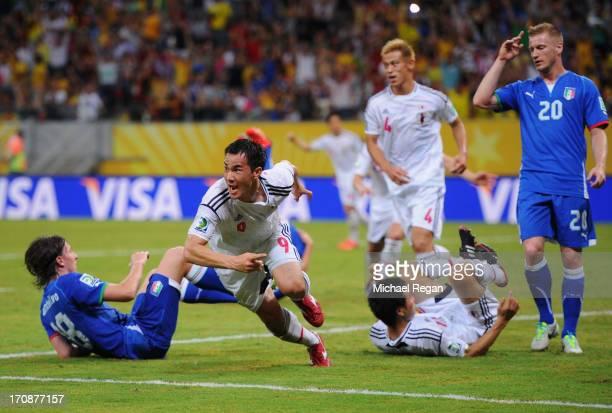Shinji Okazaki of Japan ceklebrates scoring his team's third goal to make the score 33 during the FIFA Confederations Cup Brazil 2013 Group A match...