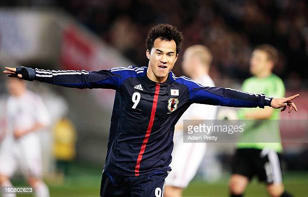 Shinji Okazaki of Japan celebrates his second goal during the international friendly match between Japan and Latvia at Home's Stadium Kobe on...