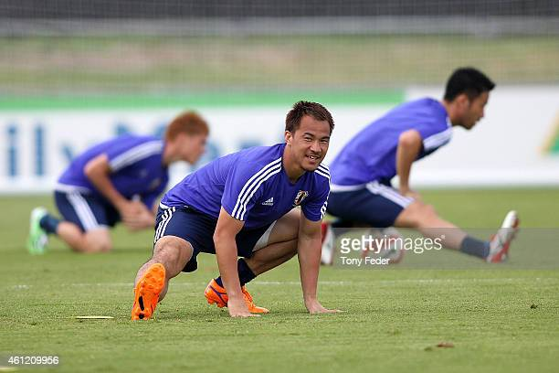 Shinji Okazaki of Japan during a Japan 2015 Asian Cup training session on January 9 2015 in Newcastle Australia