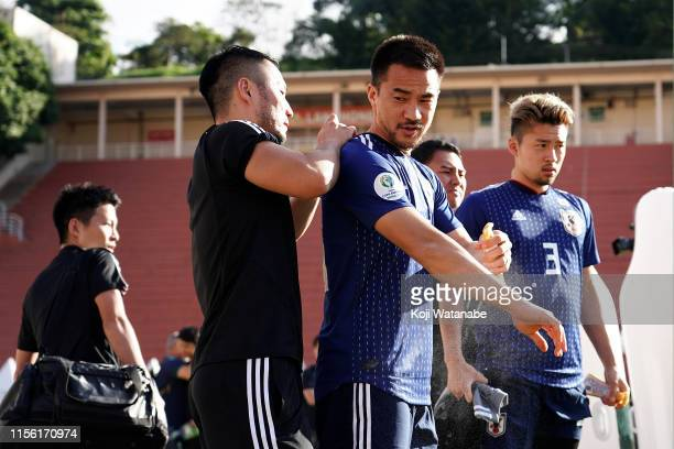 Shinji Okazaki of Japan in action during a training session at the Academia de Futebol Palmeiras on June 15 2019 in Sao Paulo Brazil