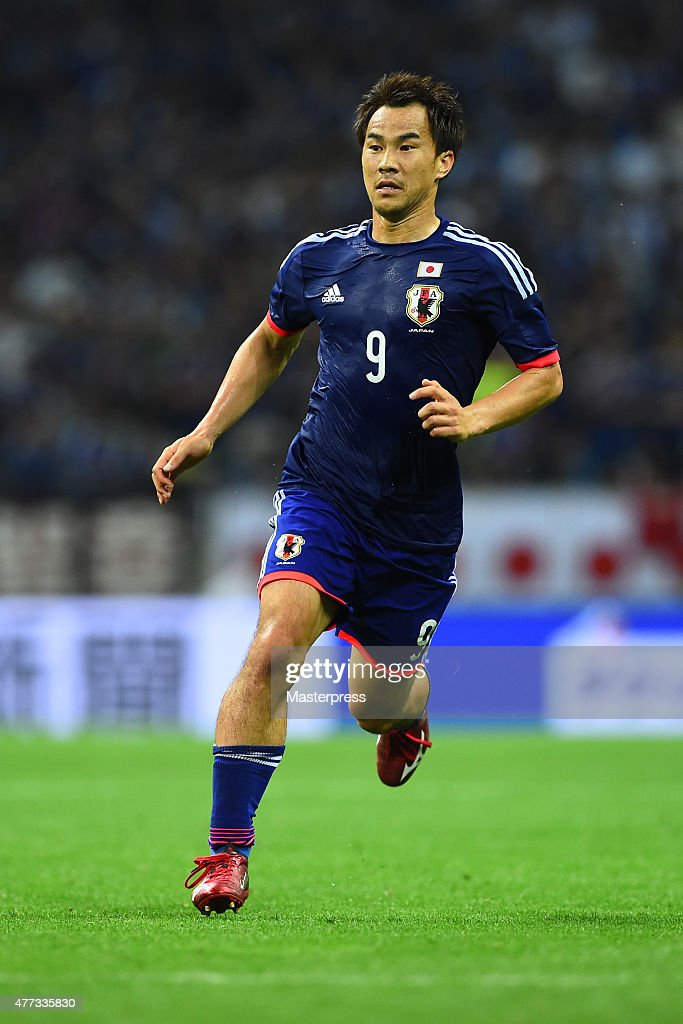 Shinji Okazaki of Japan in action during the 2018 FIFA World Cup Asian Qualifier second round match between Japan and Singapore at Saitama Stadium on June 16, 2015 in Saitama, Japan.