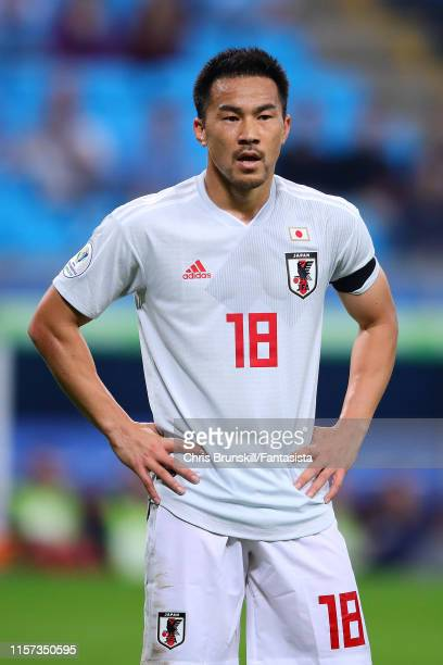 Shinji Okazaki of Japan looks on during the Copa America Brazil 2019 group C match between Uruguay and Japan at Arena do Gremio on June 20 2019 in...