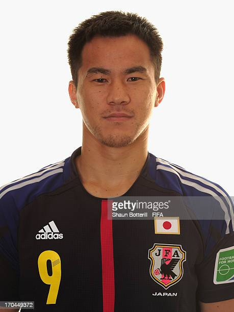 Shinji Okazaki of Japan poses for a portrait at the Kubistchek Plaza Hotel on June 13 2013 in Brasilia Brazil