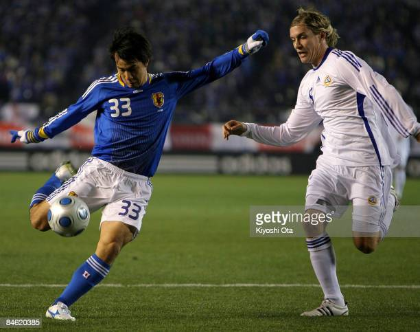 Shinji Okazaki of Japan scores a goal against Finland during the Kirin Challenge Cup 2009 match between Japan and Finland at the National Stadium on...