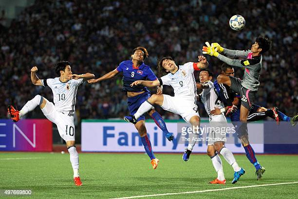 Shinji Okazaki of Japan tries to heads the ball resulting in the own goal by Khuon Laboravy of Cambodia during the 2018 FIFA World Cup Qualifier...