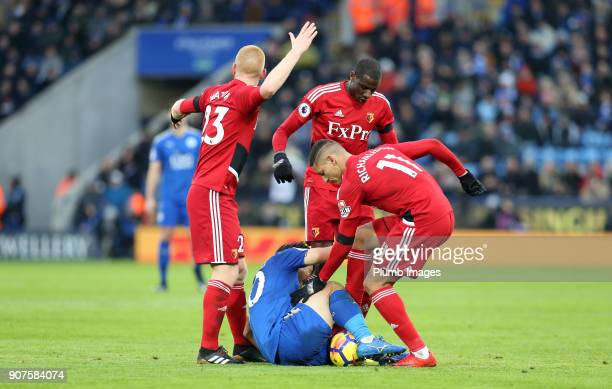 Shinji Okazaki of Leicester City after being fouled during the Premier League match between Leicester City and Watford at King Power Stadium on...