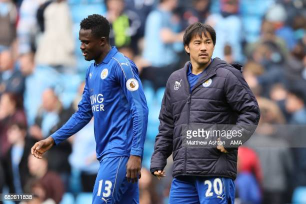 Shinji Okazaki of Leicester City and Daniel Amartey look dejected at the end of the Premier League match between Manchester City and Leicester City...