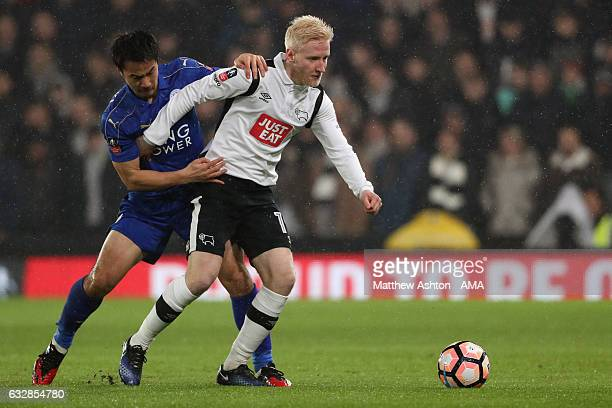 Shinji Okazaki of Leicester City and Will Hughes of Derby County during the Emirates FA Cup Fourth Round match between Derby County and Leicester...