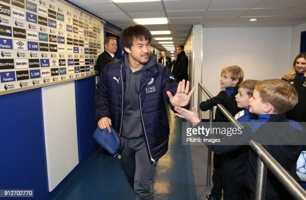 Shinji Okazaki of Leicester City arrives at Goodison Park ahead of the Premier League match between Everton and Leicester City at Goodison Park on...