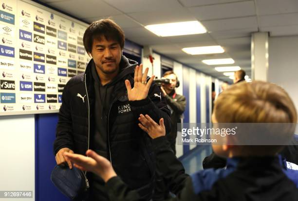 Shinji Okazaki of Leicester City arrives at the stadium prior to the Premier League match between Everton and Leicester City at Goodison Park on...