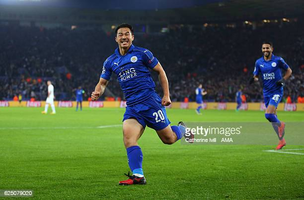 Shinji Okazaki of Leicester City celebrates after he scores a goal to make it 10 during the UEFA Champions League match between Leicester City FC and...